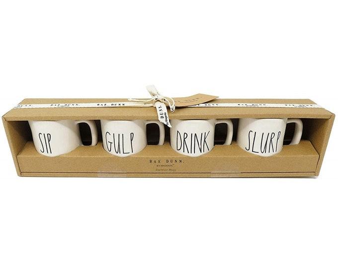 Rae Dunn Large Letter: 4 Piece Espresso Mug Set