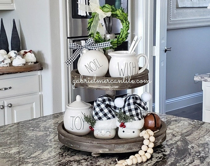 LARGE Round Distressed Wood 2 Tier Tray Stand. Wood Riser. Wood Stand. Wood Tray. Wood Pedestal. Tier Tray. Tier Stand. Farmhouse. Rae Dunn