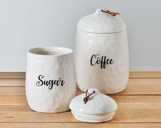 Custom Organic Speckled Cream Ceramic Canister with Leather Handle. Farmhouse Jar. Kitchen Canister. Coffee. Tea. Sugar.