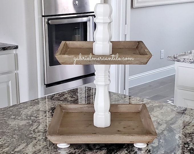 Reclaimed Wood 2 Tier Square Tray Stand in White Paint Color Columns.