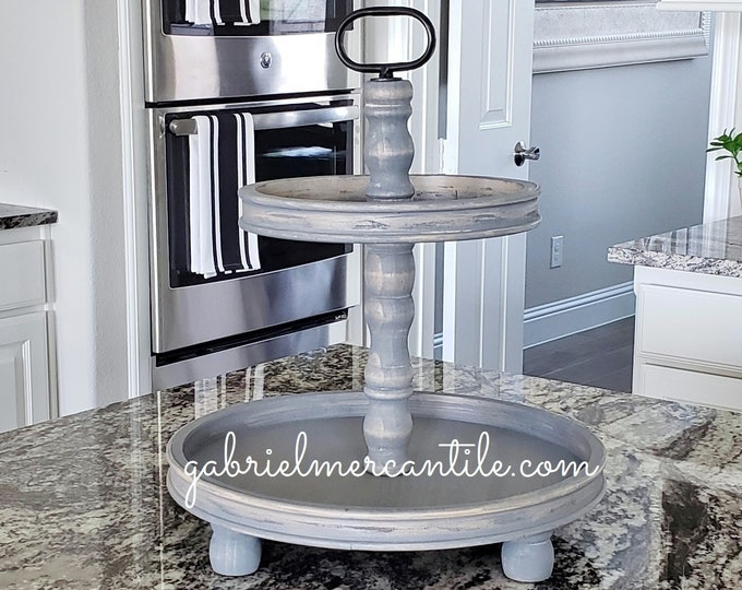 LIMITED QUANTITY! Large Rustic Wood 2 Tier Round Tray in Weathered Gray Stain.