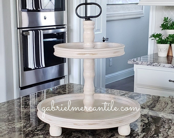 LIMITED QUANTITY! Large Rustic Wood 2 Tier Round Tray Stand in Antique White Stain.