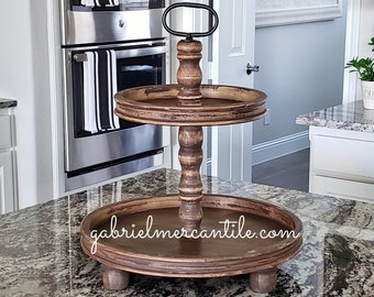 Round Rustic Wood 2 Tier Tray Stand in Weathered Dark Brown Color Stain. Wood Riser. Wood Stand. Wood Tray. Wood Pedestal. Rae Dunn.