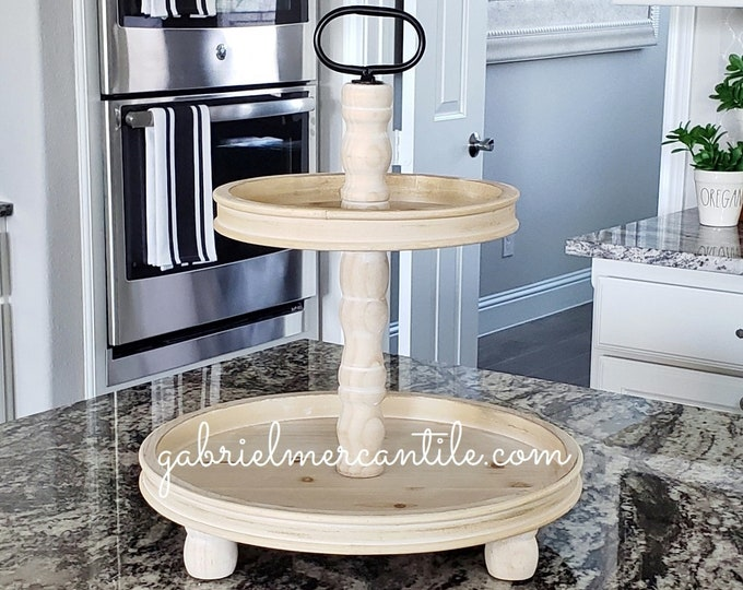 LIMITED QUANTITY! Large Rustic Wood 2 Tier Round Tray in Neutral Stain.