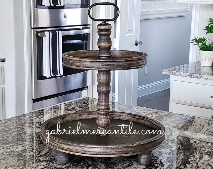 LIMITED QUANTITY! Large Rustic Wood 2 Tier Round Tray in Ebony Stain.