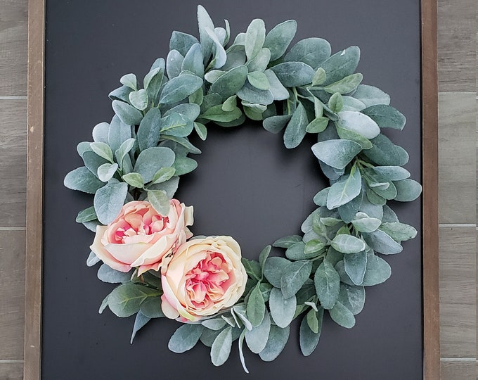 Lamb's Ear Grapevine Wreath with Large Cabbage Roses