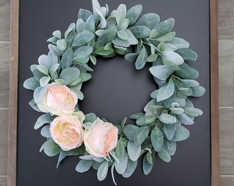 Lamb's Ear Grapevine Wreath with Peach Cabbage Roses
