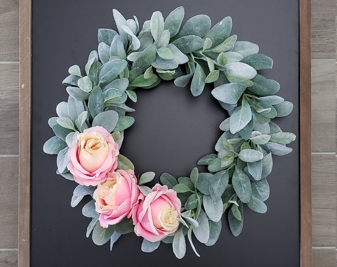 Lamb's Ear Grapevine Wreath with Pink Roses
