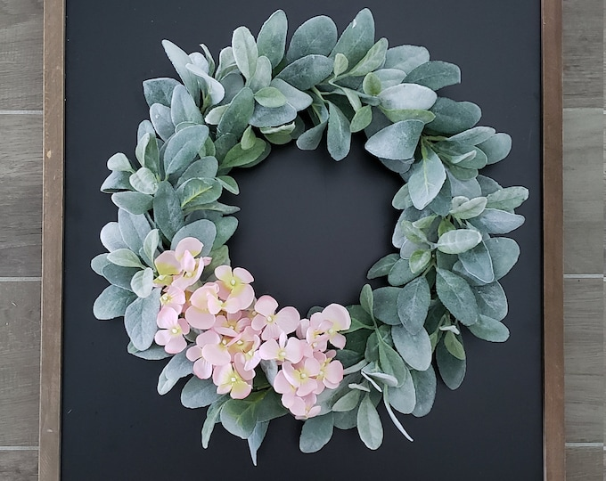 Lamb's Ear Grapevine Wreath with Pink Hydrangeas