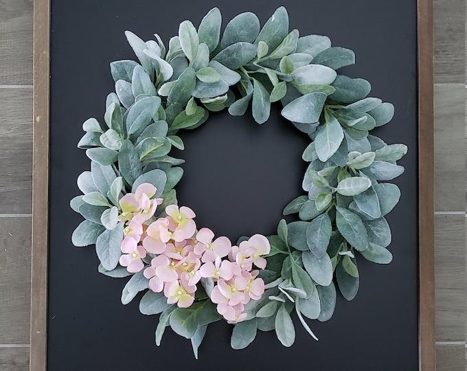 Lamb's Ear Grapevine Wreath with Pink Hydrangeas