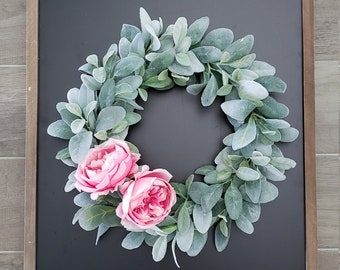 Lamb's Ear Grapevine Wreath with Large Pink Cabbage Roses