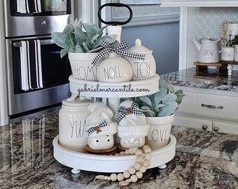 LARGE Round Rustic Wood 2 Tier Tray Stand in White  Paint. Wood Riser. Wood Stand. Wood Tray. Wood Pedestal. Farmhouse. Rae Dunn.