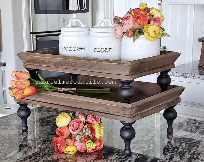 Large Distressed Rectangular Old  Wood Tray Risers. Wooden Riser. Wood Riser. Wood Stand. Wood Pedestal. Wood Tray. Farmhouse