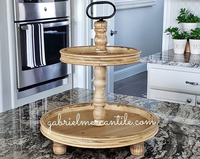 LIMITED QUANTITY! Large Rustic Wood 2 Tier Round Tray in Golden Oak Stain.
