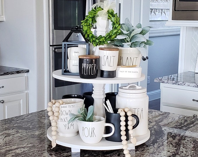 Grand Custom Wood 2-Tier Tray Stand in Antique White