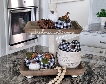 Square Reclaimed Wood 2 Tier Tray Stand with Cream  Columns. Wood Riser. Wood Stand. Wood Tray. Wood Pedestal. Farmhouse. Rae Dunn.