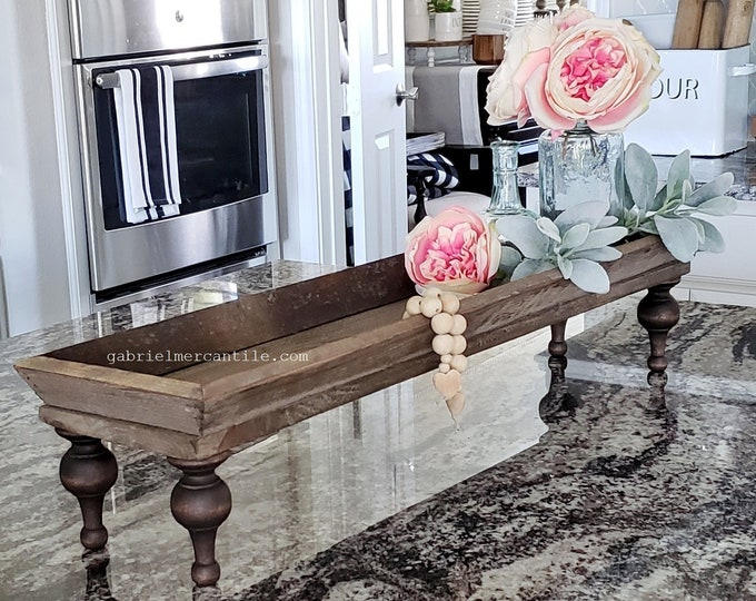 Long and Narrow Old  Wood Centerpiece Tray Riser with White Legs. Wooden Riser. Wood Riser. Wood Stand. Wood Pedestal. Wood Tray. Farmhouse.