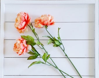 Set of Artificial Coral Peony Stems