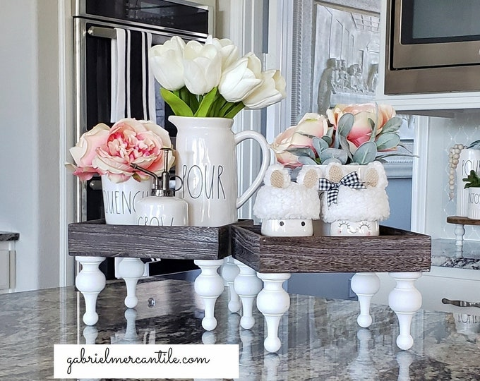 Square Rustic Wood Riser Stand. Wood Riser. Wood Stand. Wood Pedestal. Wood Tray. Farmhouse. Rae Dunn. Rustic. Distressed.