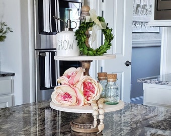 Beaded Round Rustic Wood 2 Tier Tray Stand in Antique White Stain. Wood Riser. Wood Stand. Wood Tray. Wood Pedestal. Farmhouse. Rae Dunn.