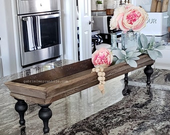 Long and Narrow Old  Wood Centerpiece Tray Riser. Wooden Riser. Wood Riser. Wood Stand. Wood Pedestal. Wood Tray. Farmhouse.