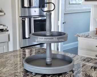 LARGE Round Rustic Wood 2 Tier Tray Stand in Gray Paint. Wood Riser. Wood Stand. Wood Tray. Wood Pedestal. Farmhouse. Rae Dunn.