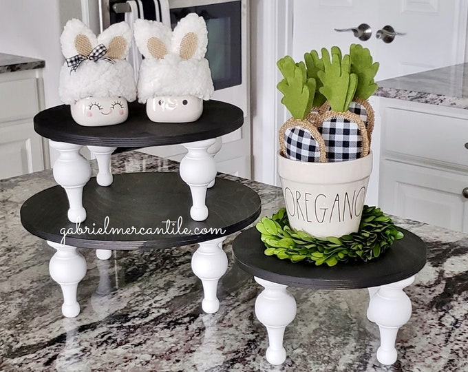 NEW! Round Wood Tray Riser Stand in Black with White legs. Wood Riser. Wood Stand. Wood Pedestal. Wood Tray. Rae Dunn.