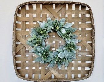 Lambs Ear, Boxwood & Berry Tobacco Basket Wreath.