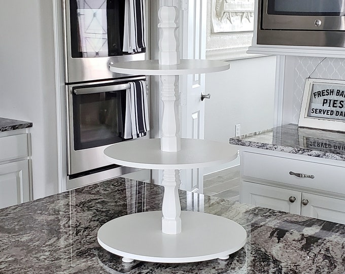 Large Wood 3 Tier Round Tray Stand in White Paint Color.