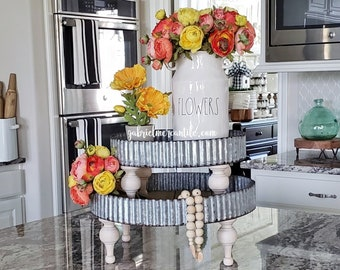 Round Wood & Galvanized Metal Riser Stand with antique white legs. Wooden Riser. Wood Riser. Wood Stand. Wood Pedestal. Wood Tray. Farmhouse