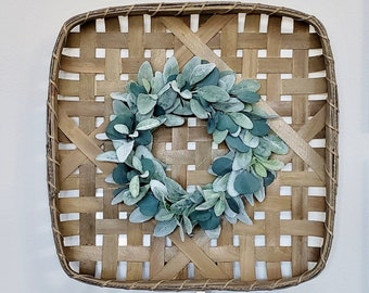 Lambs Ear & Eucalyptus Square Tobacco Basket Wreath.