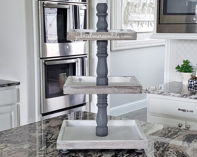 Rustic Wood 3 Tier Square Tray Stand with Gray Paint Color Columns.