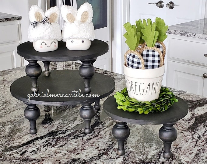 NEW! Round Wood Tray Riser Stand in Black with Black legs. Wood Riser. Wood Stand. Wood Pedestal. Wood Tray. Rae Dunn.