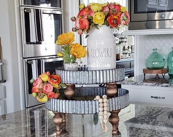 Round Wood & Galvanized Metal Riser Stand with brown legs. Wooden Riser. Wood Riser. Wood Stand. Wood Pedestal. Wood Tray. Farmhouse.