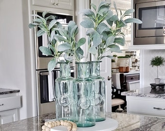 Lambs Ear Decorated 1 Liter Recycled Green Glass Apothecary Bottle / Carafe.