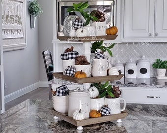 Square Reclaimed Wood 3 Tier Tray Stand with White  Columns. Wood Riser. Wood Stand. Wood Tray. Wood Pedestal. Farmhouse. Rae Dunn.