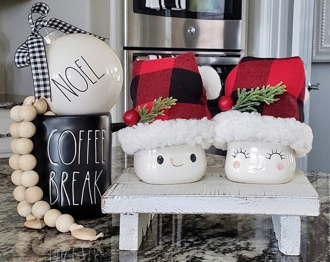 Set of Black & Red Buffalo Check Santa Hats for Marshmallow Mugs. Farmhouse Decor. Tier Tray Decor. Tier Stand Decor. Rae Dunn Decor