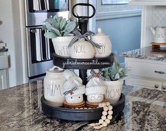 LARGE Round Rustic Wood 2 Tier Tray Stand in Black Paint. Wood Riser. Wood Stand. Wood Tray. Wood Pedestal. Farmhouse. Rae Dunn.