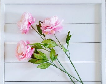 Set of Artificial Light Pink Peony Stems