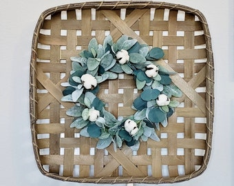 Lambs Ear, Eucalyptus & Cotton Square Tobacco Basket Wreath.
