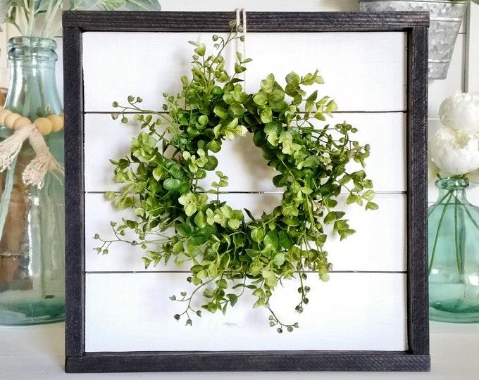 Shiplap Framed Eucalyptus & Beach Wreath