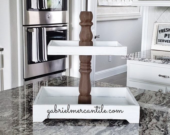 Rectangular Rustic Wood Tier Tray Stand with Dark Brown  Columns. Wood Riser. Wood Stand. Wood Tray. Wood Pedestal. Farmhouse. Rae Dunn