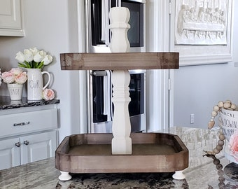 Scalloped Edged Distressed Wooden Tier Tray with Cream Paint Color Center Stand.