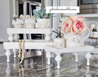 BEST SELLER! Rectangular Wood Tray Riser Stand in Antique White Wash with White Legs. Wood Riser. Wood Stand. Wood Pedestal. Wood Tray.