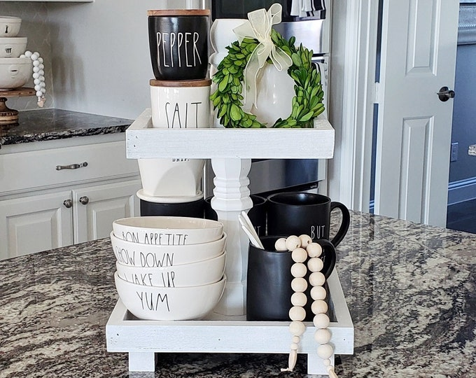 Custom Wood 2 Tier Distressed White Wash Square Tray Stand.