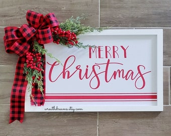 Merry Christmas Sign. Holiday Sign. Rustic Sign. Farmhouse Sign.Door Sign. Wall Sign. Wood Sign.
