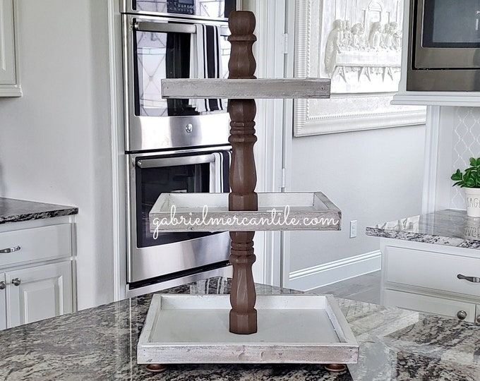 Rustic Wood 3 Tier Square Tray Stand with Espresso Paint Color Columns.