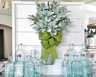 LARGE Galvanized Metal Wall Bucket with Lambs Ear Stems