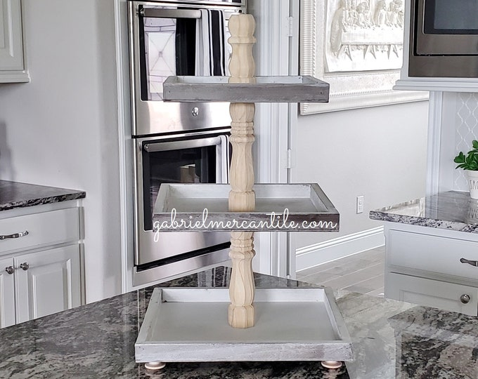 Rustic Wood 3 Tier Square Tray Stand with Natural Birch Columns.