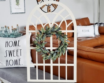 Olive Leaves & Stems Window Frame Wreath.
